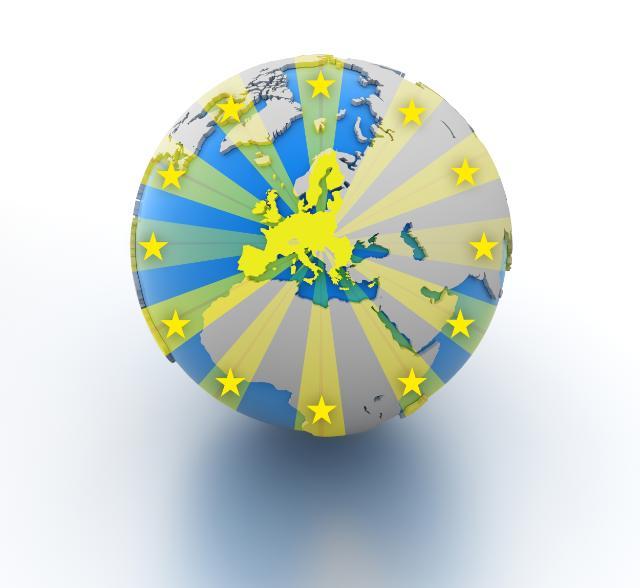 Globo terráqueo con Europa en el centro