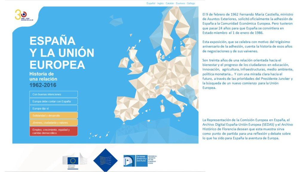 Portada de exposición 30 años de España en la Unión Europea